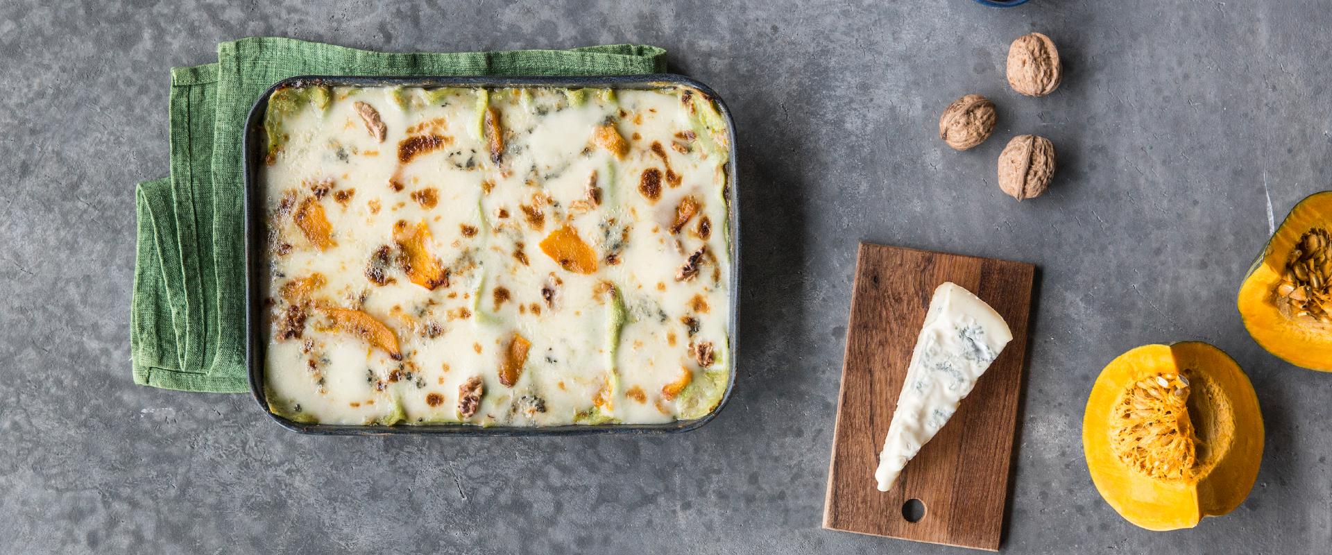 Lasagne verdi con zucca noci e gorgonzola